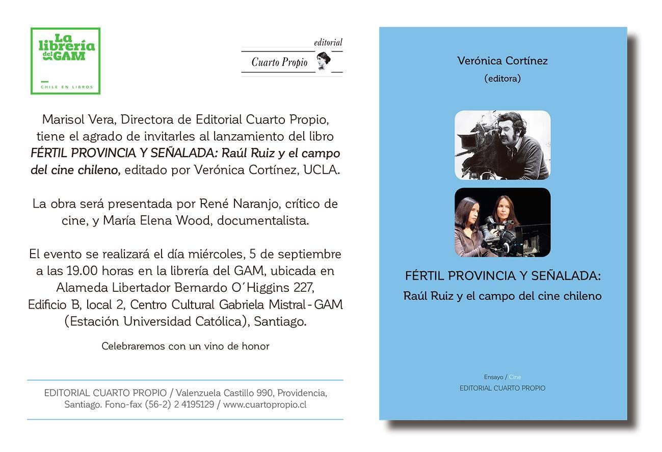 Invitacion Presentación libro Fertil Provincia. Santiago de Chile
