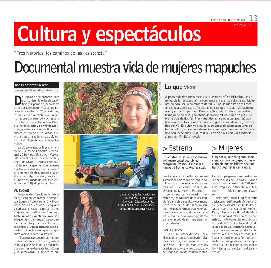 Tres Mujeres Lindas.Noticia Poseck Films